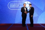 Bernard Fung from Credit Suisse receives the award for Best Private Bank - Family Office Services