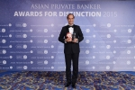 Francesco de Ferrari from Credit Suisse receives the award for Best Private Bank - Australia